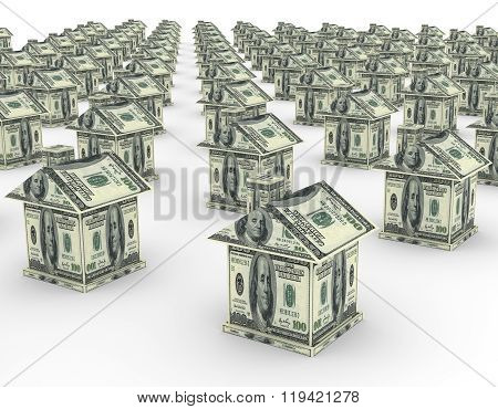 3D Houses From The Money Dollar