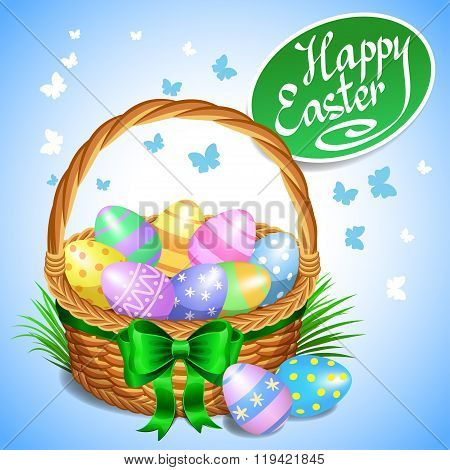Easter Basket With Color Painted Easter Eggs. Easter Eggs In Basket, Basket Full Of Eggs, Vector