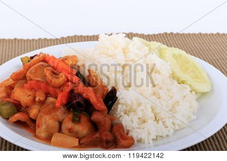 Stir-fried chicken with cashew nuts, Cashew nut fried with chicken and sweet.