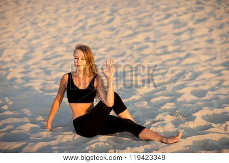 Beach Yoga Session By Polish Sea