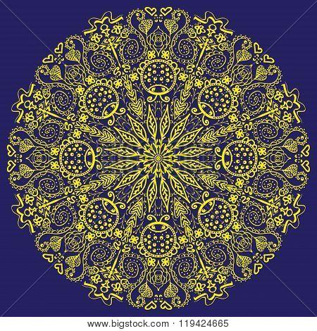 Mandala In Blue Background