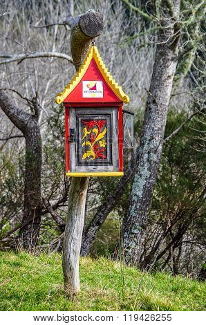 Decorated Mailbox In Whanganui National Park, New Zealand