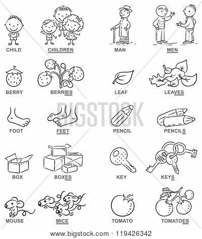 Plural Of Nouns In Cartoon Pictures, Black And White, Can Be Used As A Teaching Aid For Foreign Lang