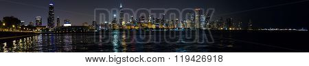 Chicago, Il/usa - Circa July 2015: Night View Of Chicago Downtown From Adler Planetarium,  Illinois