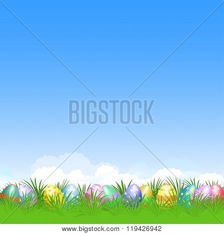 Easter Background And Colorful Easter Eggs In Green Grass For Easter Holidays Design. Easter Vector