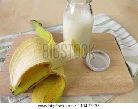 Bottle of kefir with banana