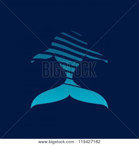 Blue Whale Strips Logo Sign On Dark Background