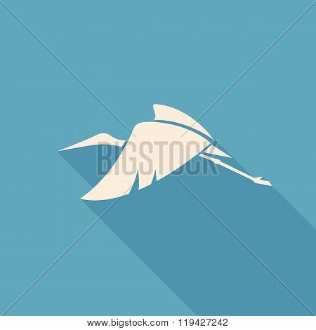 Flying Stork Sign Logo Emblem On A Blue Background Vector Illustration