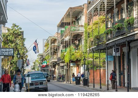 New Orleans, La/usa - Circa March 2009: Old Colonial Houses With Ironwork Galleries On The Streets O