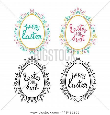 Decorative Eggs Shapes with Floral Frames