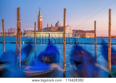 Venice With Gondolas In The Evening In Italy