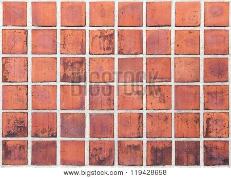 Old Red Tiling On The Wall, Grungy Background