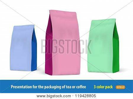 Set Of Paper Packets Of 3 Colors For The Presentation