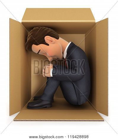 3d businessman inside cardboard box