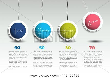 Pendulum. Color Spheres, Balls, Bubbles. Infographic Template.