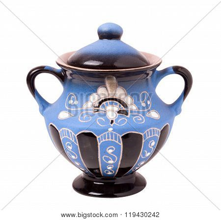blue sugar bowl isolated on a white background