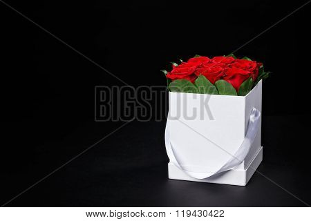 Red Roses In A Small Square White Gift Box On Black Background, Studio Shooting,march 8
