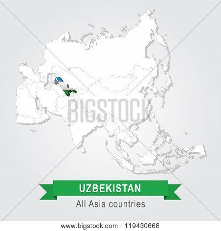 Uzbekistan. All the countries of Asia. Flag version.