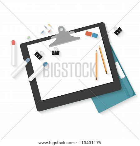 Flat design mockup per creative workspace