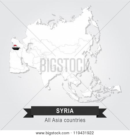 Syria. All the countries of Asia. Flag version.