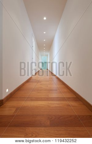 Architecture, long corridor of a modern building, parquet floor