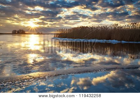 Winter landscape with river reeds and cloudy sunset sky. Composition of nature.