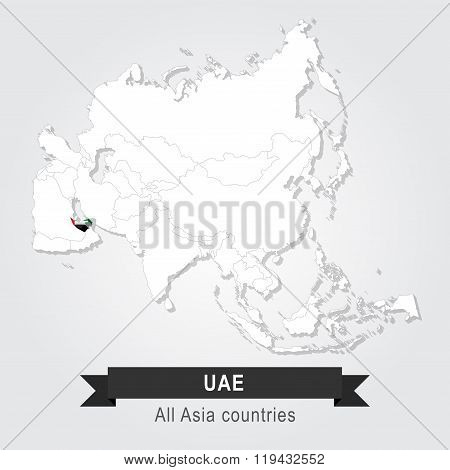 UAE. All the countries of Asia. Flag version.