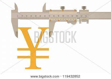 Yen Or Yuan Symbol With Vernier Caliper