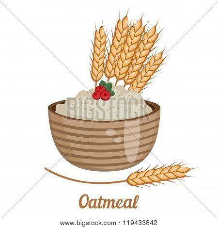 Oatmeal Isolated On White Background.