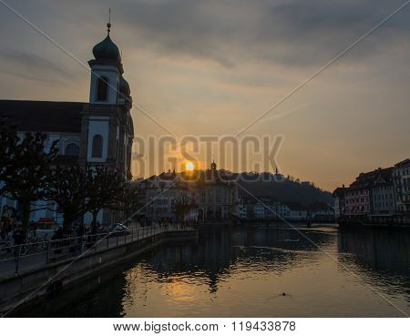 Sunset At Jesuit Church In Lucerne City
