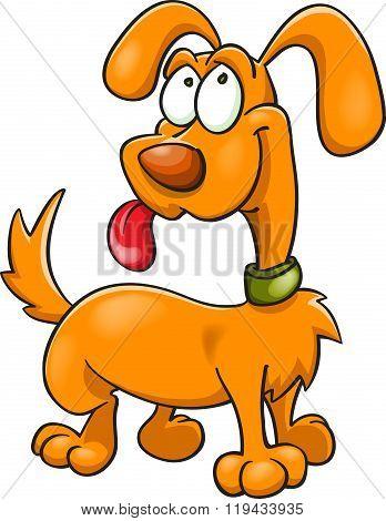 Orange Cartoon Dog In Green Collar