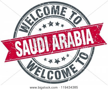 welcome to Saudi Arabia red round vintage stamp