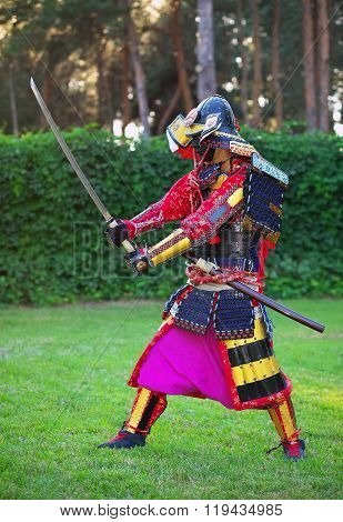 Man in samurai costume with sword. Original Character