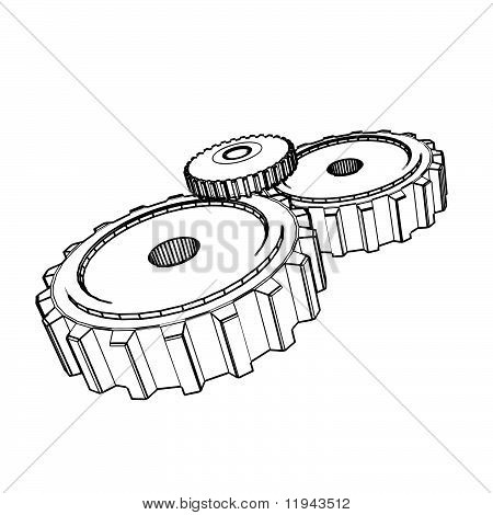 3d technical vector drawing of gears
