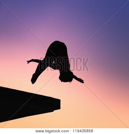 Silhouette Of Lady Diver