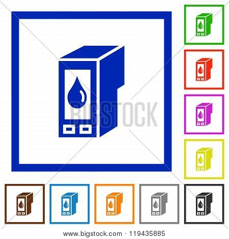 Ink Cartridge Framed Flat Icons