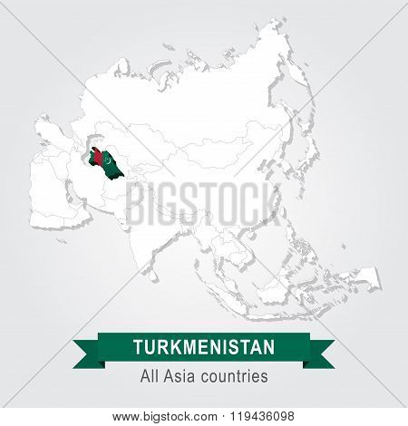 Turkmenistan. All the countries of Asia. Flag version.