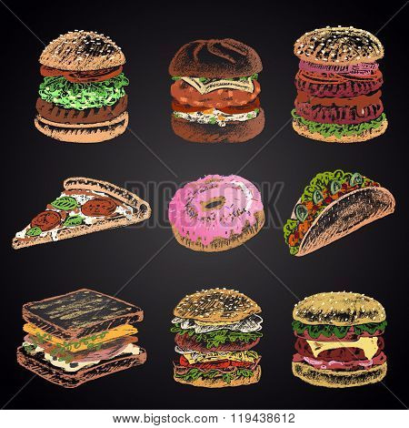 Colored set of chalk drawn 9 different fast food icons on black chalkboard: donut, pizza, burgers, t