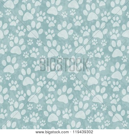 Green Doggy Paw Print Tile Pattern Repeat Background