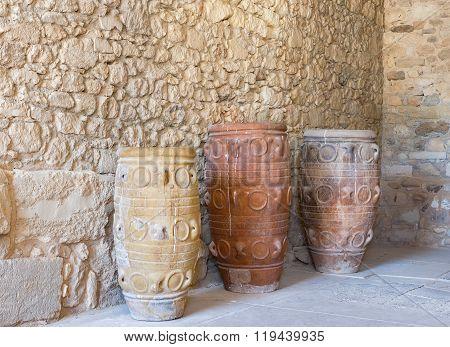 Clay Jars. Knossos Palace, Crete, Greece