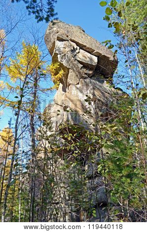 The Idol Rock - Stone guards of Olkhinsky plateau. Rocky outcrops formed by the weathering of rocks