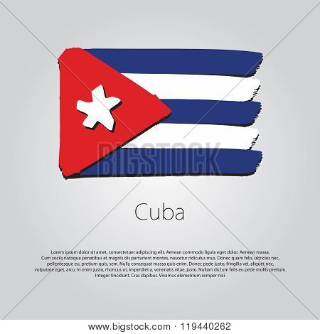 Cuba Flag With Colored Hand Drawn Lines In Vector Format