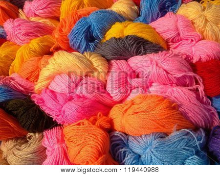 colorful tangles of wool yarn closeup
