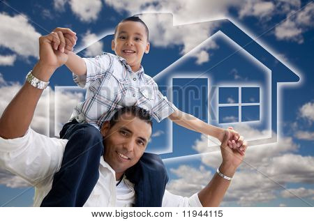 Happy Hispanic Father and Son Over Clouds, Sky and House Icon.