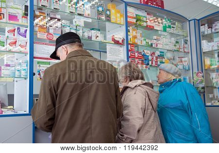 MURMANSK, Russia - May 19, 2012, People buy medicines in a pharmacy