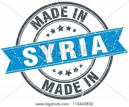 made in Syria blue round vintage stamp