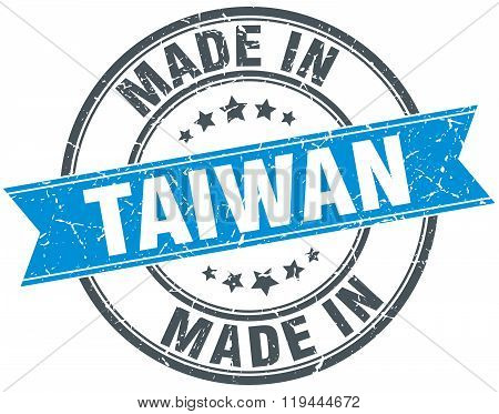 made in Taiwan blue round vintage stamp