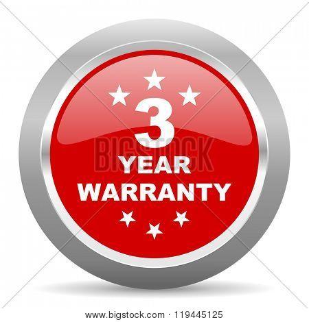 warranty guarantee 3 year red chrome web circle glossy icon