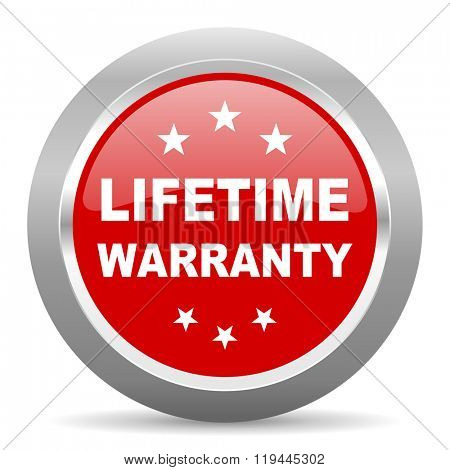lifetime warranty red chrome web circle glossy icon