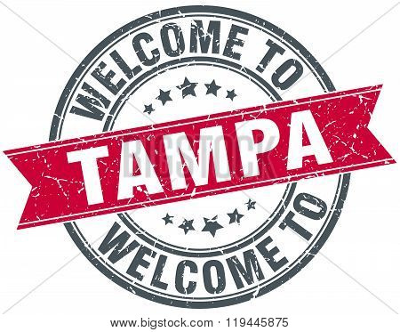 welcome to Tampa red round vintage stamp